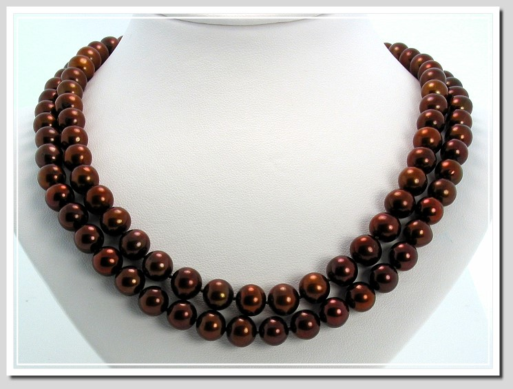 8-8.5MM Chocolate Brown Freshwater Pearl Necklace, 14K Yellow Gold 34in.