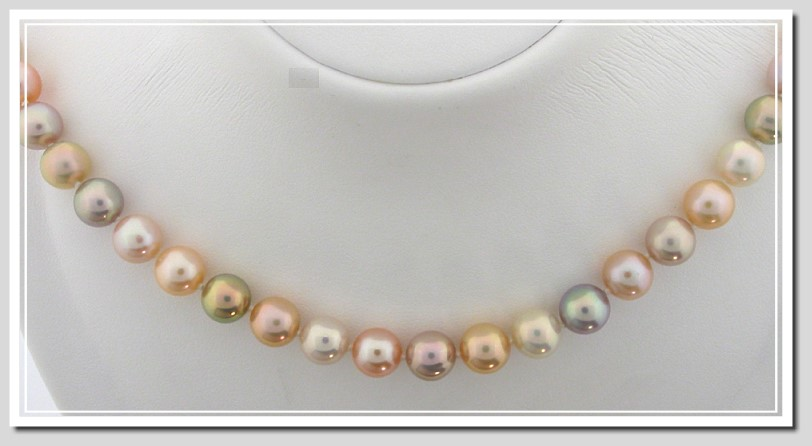 AA+ Grade 8-8.5MM Natural Multi-Color Freshwater Pearl Necklace 14K Gold 18in.