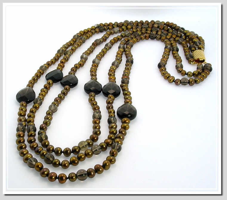 Tri Strand Chocolate Freshwater Pearl & Smoky Quartz Necklace 23-28in