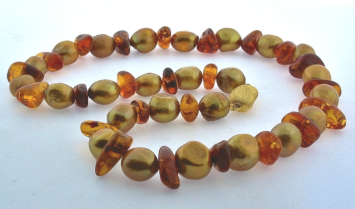 11X12MM Golden Freshwater Pearl & Amber Bead Necklace, Designer Clasp, 20in