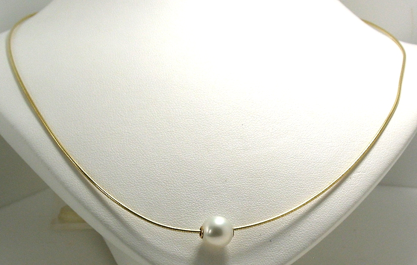 9MM White Freshwater Pearl Slide on Omega Chain, 14K Yellow Gold, 18in
