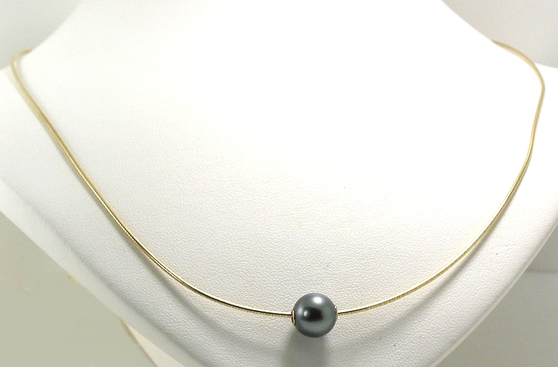 9MM Dark Gray Tahitian Pearl Slide on Omega Chain, 14K Yellow Gold, 18in