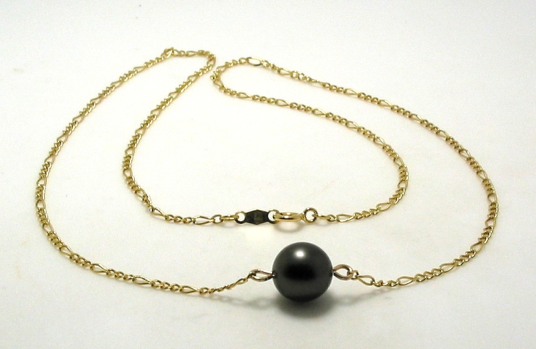 8.8MM Tahitian Pearl Station Necklace, 14K Yellow Gold, 16.5in