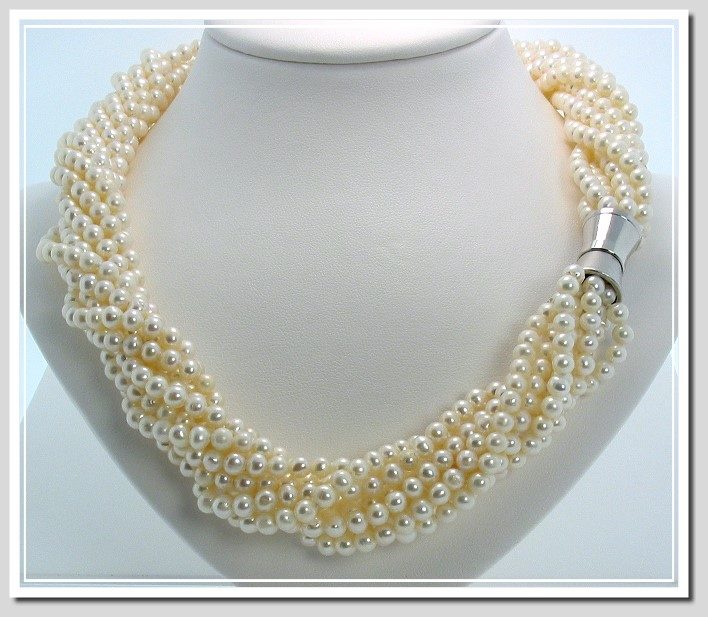 9 Strand 4-4.5MM Freshwater Pearl Twist Necklace Magnetic Clasp 18in.