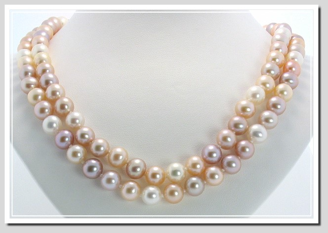 AA+ Grade 8-8.5MM Natural Multi-Color Freshwater Pearl Necklace 14K Gold 32in.
