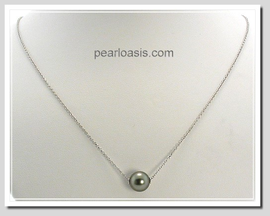 8.56MM Dark Gray Tahitian Solitary Floating Pearl Necklace 14K White Gold Chain 18in