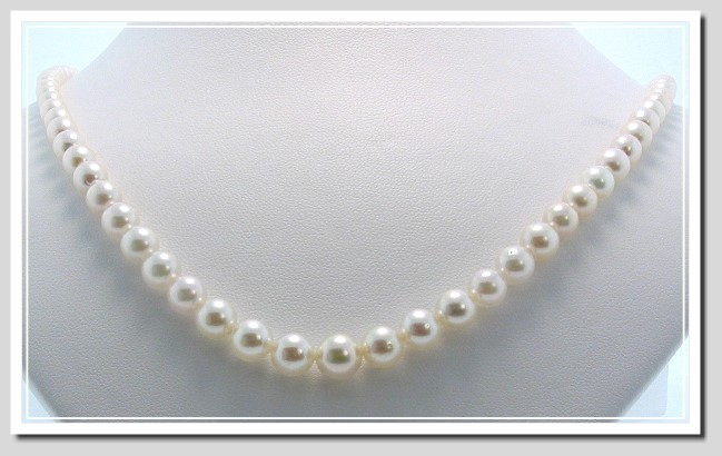 AA+ 5.5-8MM Akoya Pearl Graduated Necklace 14K Yellow Gold Clasp 20in