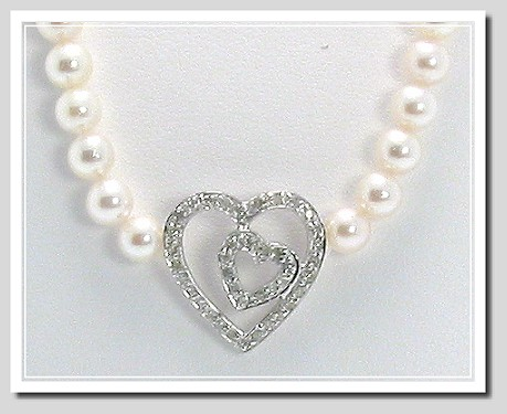 5-5.5MM Akoya Pearl Necklace with 0.25 Ct. Diamond Heart Pendant 14K Gold 16in.