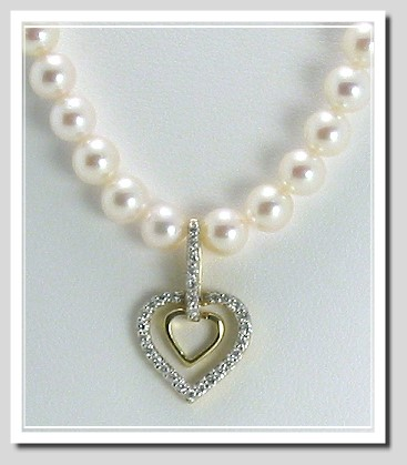 5-5.5MM Akoya Pearl Necklace with 0.25 Ct. Diamond Double Heart Pendant 14K Gold 16in.