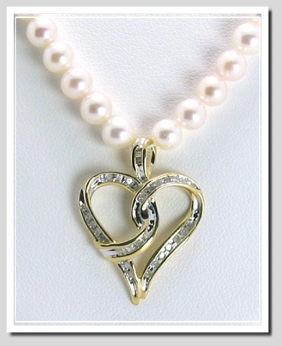 Freshwater Pearl Necklace with 0.25 Ct. Diamond Heart Pendant 10K Gold 16in.