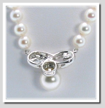 6-6.5MM Akoya Pearl Necklace with Diamond Pearl Center Piece 14K Gold 16in.