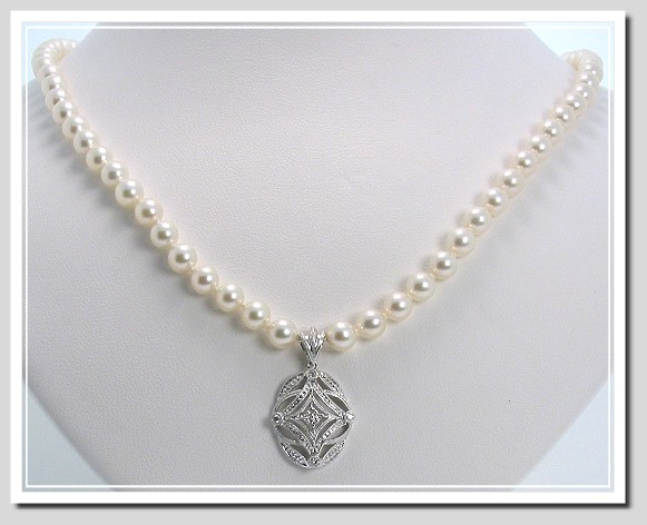 AA+ Grade 5-5.5MM   17 In. White Akoya Cultured Pearl Necklace w/Antique Style Diamond Pendant, 14K White Gold,