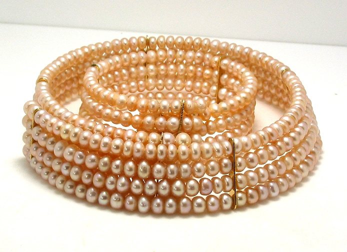 Four Row 4.5-5MM Pink Freshwater Pearl Choker & Bangle, 15in & 7in