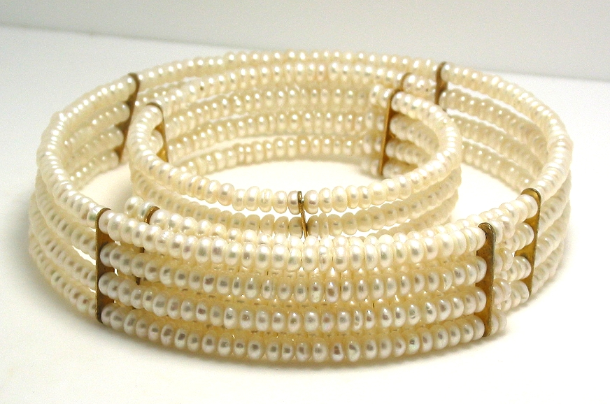 Four Row 4.5-5MM White Freshwater Pearl Choker & Bangle, 15in & 7in