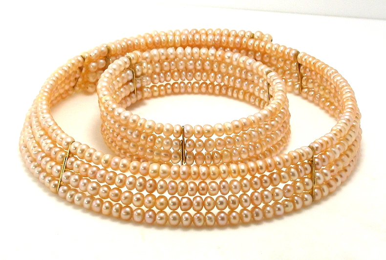 Four Row 3.5-4MM Peach/Pink Freshwater Pearl Choker & Bangle, 15in & 7in