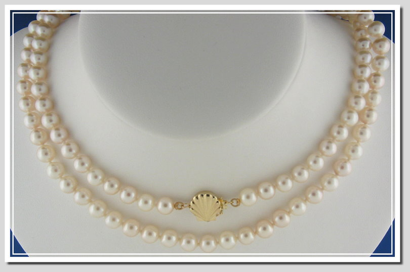 6-6.5MM Chinese Akoya Cultured Pearl Necklace w/14K Sea Shell Clasp 32in