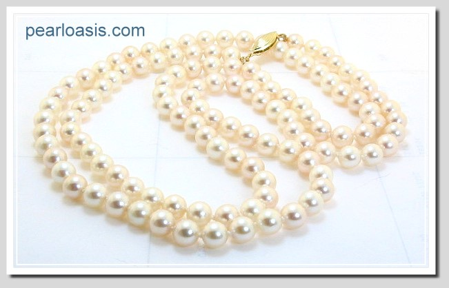 AA 6-6.5MM Chinese Akoya Pearl Necklace 14K Clasp 32in Special