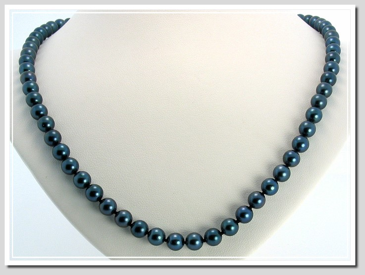 AA+ 6-6.5MM Black Chinese Akoya Cultured Pearl Necklace 14K White Gold Clasp 16in.