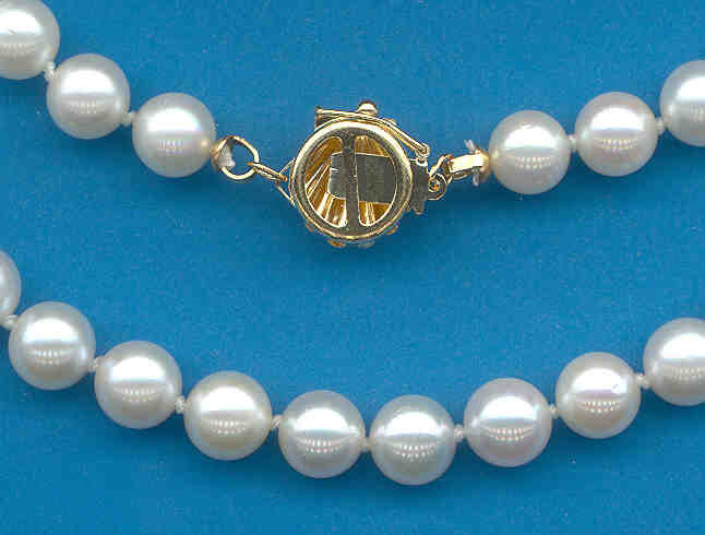 A+ Grade 6.5-7MM White Japanese Akoya Cultured Pearl Necklace w/14K Seashell Clasp, 24 In.