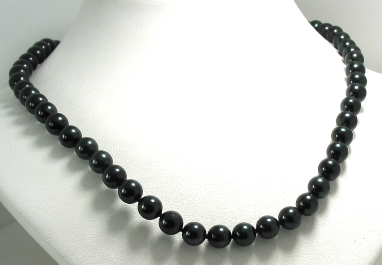 AA+ Grade 6.5-7MM Black Chinese Akoya Cultured Pearl Necklace, 14K White Gold Clasp, 16In.