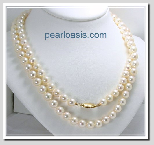 AA Grade 7-7.5MM Chinese Akoya Cultured Pearl Necklace 14K Clasp, 32 In. Special!