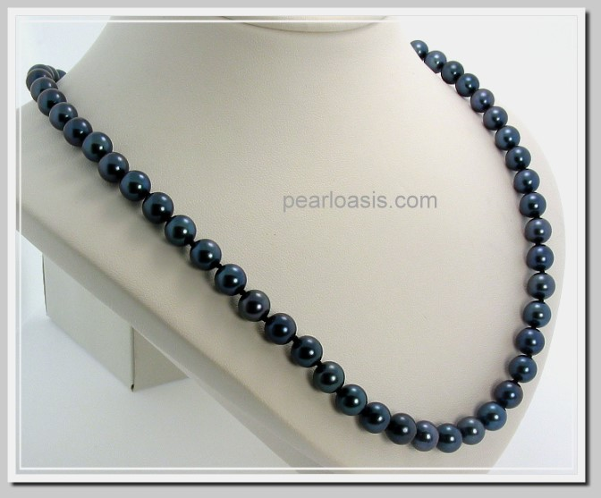 AA 7-7.5MM Black Akoya Pearl Necklace 14K Clasp 18in