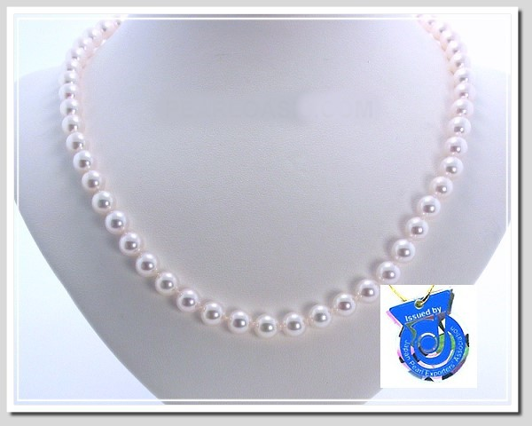 AA+ 7-7.5MM Japanese Akoya Cultured Pearl Necklace 14K Clasp