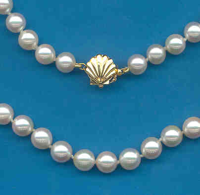 AA Grade 7-7.5MM White Japanese Akoya Cultured Pearl Necklace w/14K Sea Shell Clasp 32In.