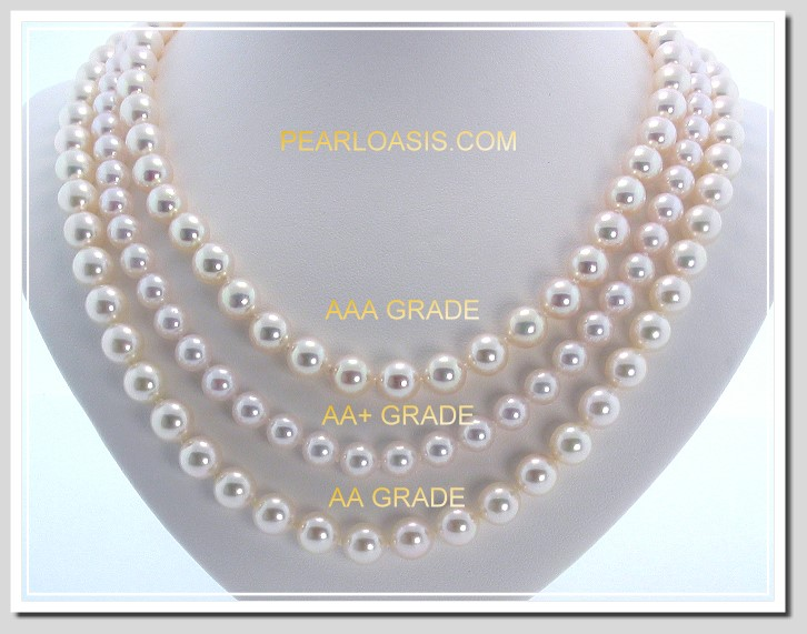 AAA 7-7.5MM Japanese Akoya Cultured Pearl Necklace 14K Gold Clasp
