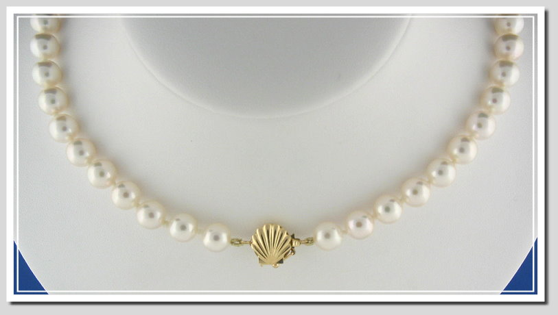 AA Grade 7.5-8MM Japanese Akoya Cultured Pearl Necklace w/14K Seashell Clasp, 18 In.