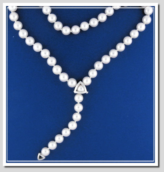 AA+ Grade 7.5-8MM Akoya Cultured Pearl Lariat Necklace, 18K Adjustable Clasp 21in