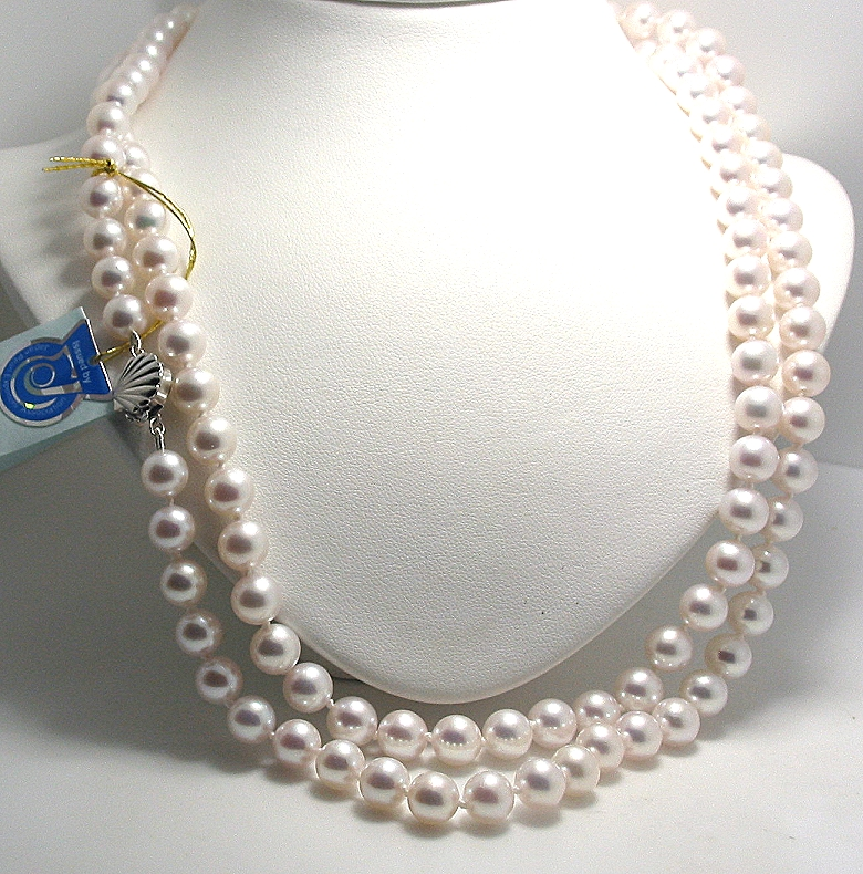 AA+ 7.5-8MM Japanese Akoya Pearl Necklace, 14K White Gold Seashell Clasp, 40in