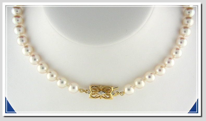 AAA Grade 7.5-8MM White Japanese Akoya Cultured Pearl Necklace w/18K Antique Style Diamond Clasp, 16 In.