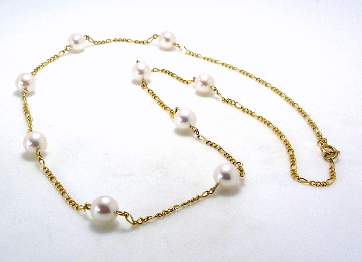 14K Gold Tin Cup Pearl Necklace, AAA 6-6.5MM Japanese Akoya Pearls, 18in