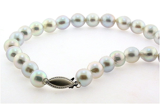 8MM - 9MM Silver Gray Japanese Akoya Pearl Necklace, 14K Clasp, 32in