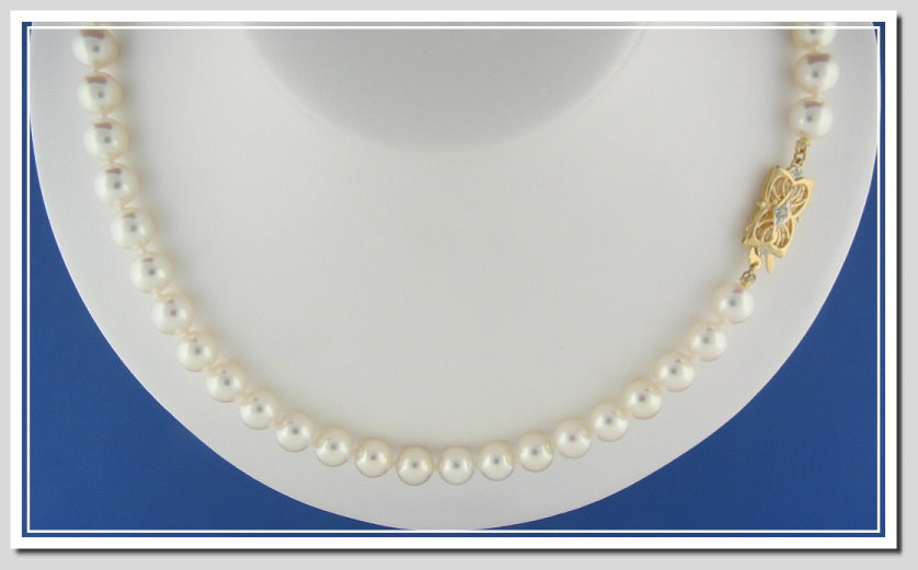AAAA Grade 8-8.5MM White Japanese Akoya Cultured Pearl Necklace w/18K Antique Style Diamond Clasp, 18 In.