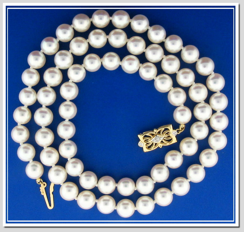 AAAA Grade 8-8.5MM Japanese Akoya Cultured Pearl Necklace 18K Diamond Clasp 24in