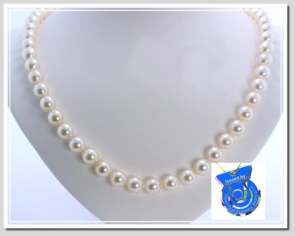 AA 8.5-9MM White Japanese Akoya Cultured Pearl Necklace 14K Clasp