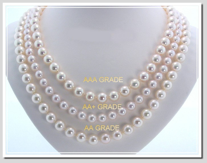 AAA 8.5-9MM Japanese Akoya Cultured Pearl Necklace 14K Gold Clasp