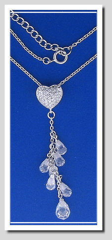 Heart Tassel Pendant with Chain. White Zircons & Crystal. 925 Silver