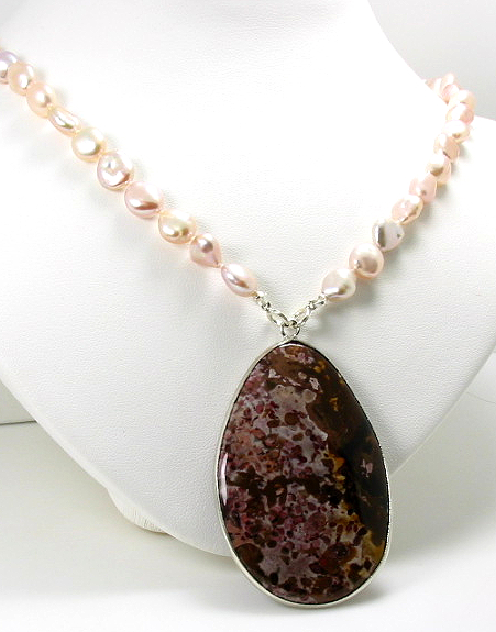 7X8MM Multi Color FW Pearl Necklace 18in w/ 1.3X2.1in Natural Jasper Pendant
