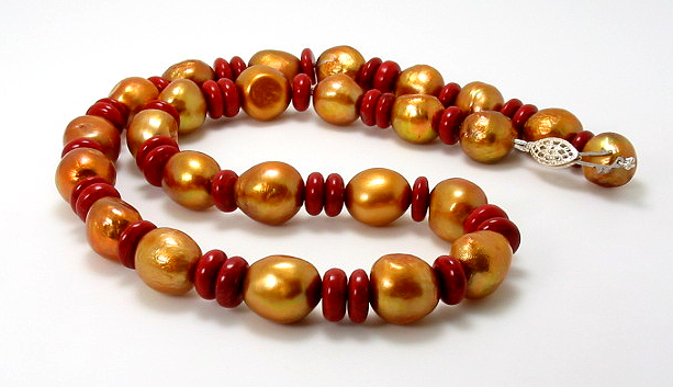 11-12MM Golden Brown Freshwater Pearl & Jasper Bead Necklace 18