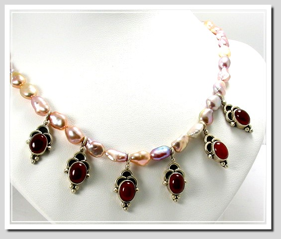 65X7MM Natural Colored Freshwater Pearl & Red Carnelian Stone Charm Necklace 17in. Silver