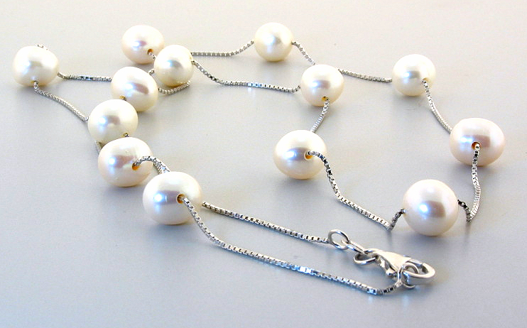 8X9MM White Freshwater Pearl Tin Cup Necklace, Silver, 24in