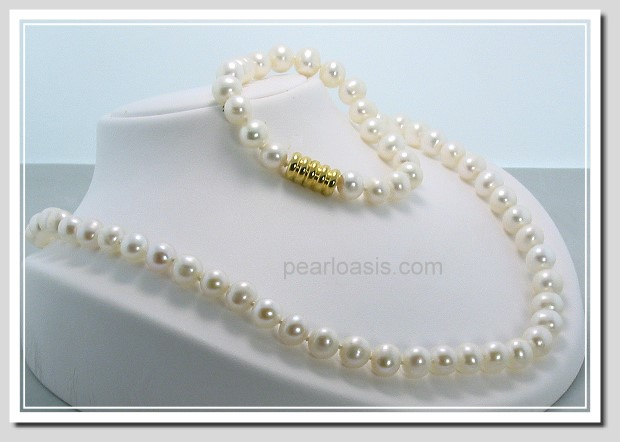 8-9MM White Freshwater Pearl Necklace/Bracelet Set Magnetic Clasp 7+18in