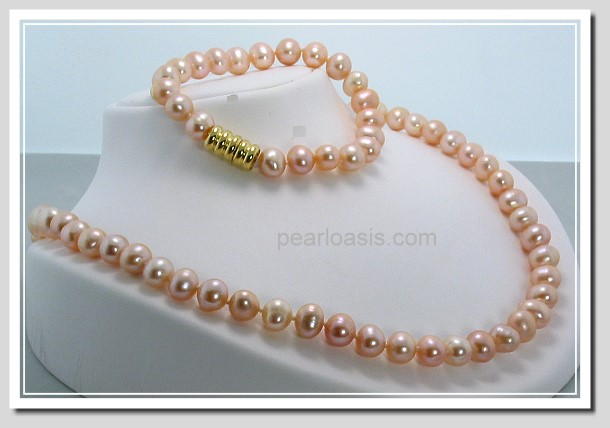 8-9MM Pink Freshwater Pearl Necklace/Bracelet Set Magnetic Clasp 7+18in