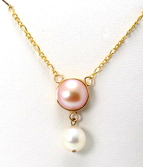 7.9MM - 9.6MM White & Pink Freshwater Pearl Neckace 14K Gold 16+1in