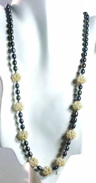 6X8MM Black & White Freshwater Pearl Necklace Silver Clasp  24in