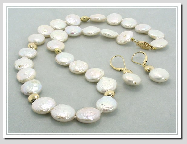 12-13MM White Coin Pearl Necklace 16in /Earrings Set, 14K Gold.