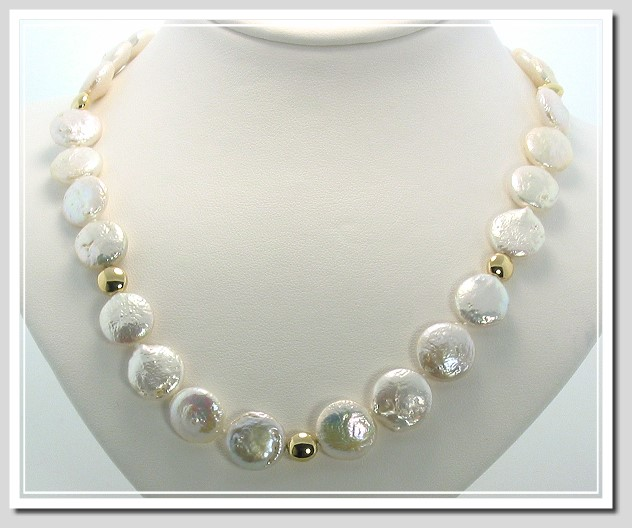 12 13mm White Coin Pearl Necklace 16in Earrings Set 14k